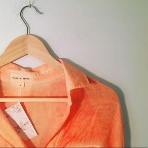 Anthropologie cloth & stone orange tie-dye blouse